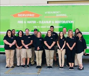 The Beaumont/Banning SERVPRO gathers for a crew photo in front of a Company Truck