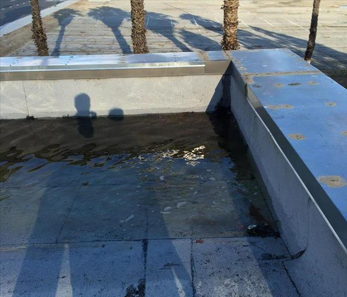 Picture of roof of commercial building with significant storm water