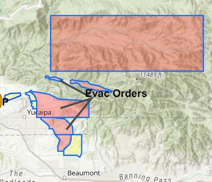 San Bernardino Fire Map Shows Color Coded Evacuation Zones